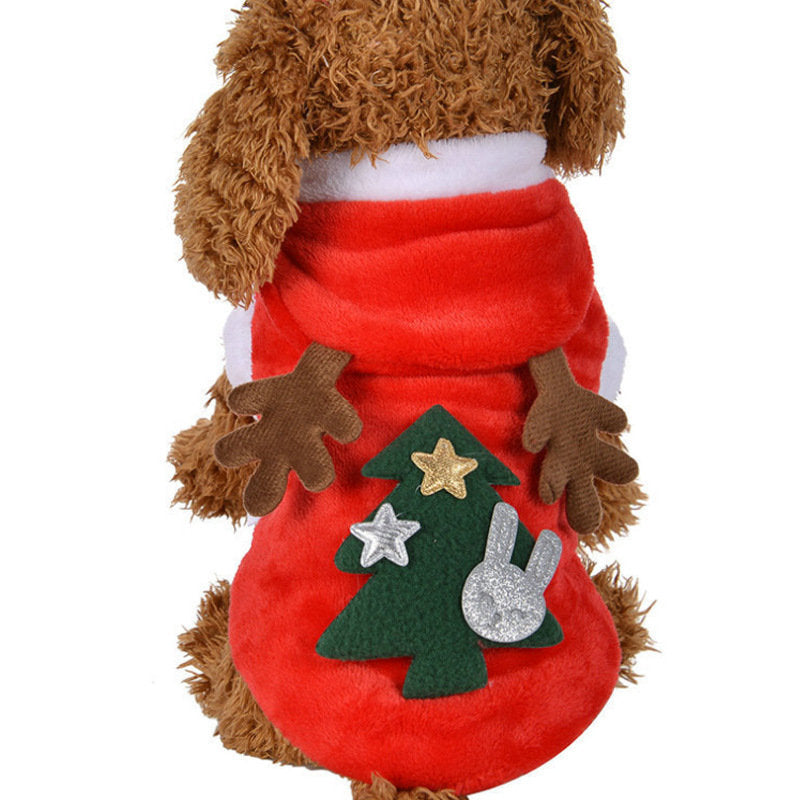 Christmas Elk Pet Dog Festival Costume Red Christmas Hoody Clothing