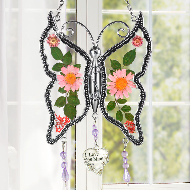 Butterfly Suncatcher with Pressed Flower Wings Embedded in Glass with Metal Trim Gifts for Mom/Friend