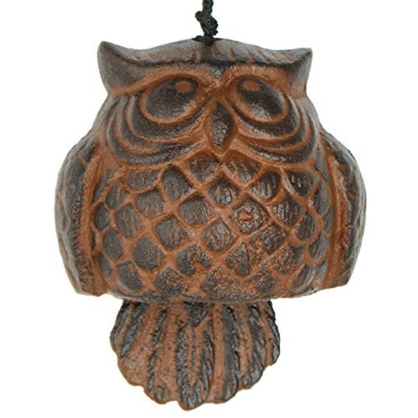 Arts Cast Iron Cowl Habitats Owl Windbell Wind Chimes Outdoor and Home Decoration
