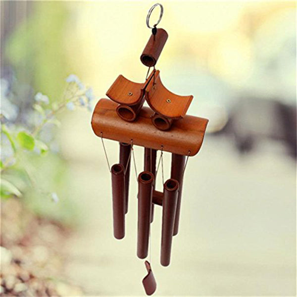 Bamboo Wood Wind Chimes 6 Tubes Outdoor Hanging Bells Home Garden Decoration