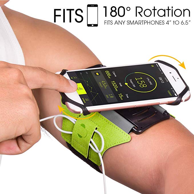 Running Armband 180° Rotatable with Key Holder Phone Armband for Hiking Biking Walking