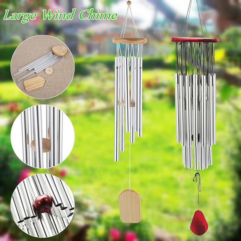 Large Silver Tubes Wind Chime Home Garden Outdoor Yard Windbells Home Decor