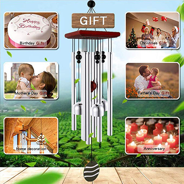 "Tuned 21"" Wood Wind Chimes with 8 Aluminum Tubes and 4 Bells Birthday Gift Idea or Decoration for Outdoor, Patio, Garden, Indoor"