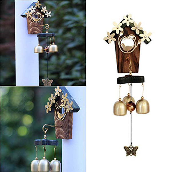 Copper Bird Nest Metal Wind Chimes Antique House Decoration Luxury Retro Wall Hanging