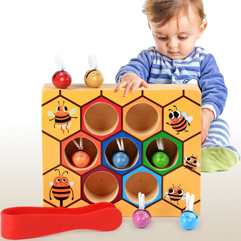 Toddler Bee Hive Wooden Toys, Preschool Bee Game Motor Skills Toys for Kids Baby Early Educational Learning Colors and Sorting Counting Toddler Montessori Game Colorful Beehive Toys
