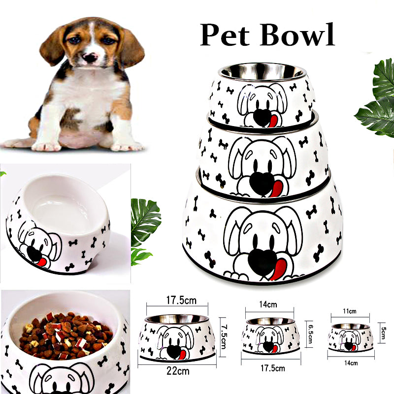 Cartoon Stainless Steel Cat Dog Food Water Bowl Non-Slip Rubber Base Small Pet Bowl Cat Dog Feeding Bowls