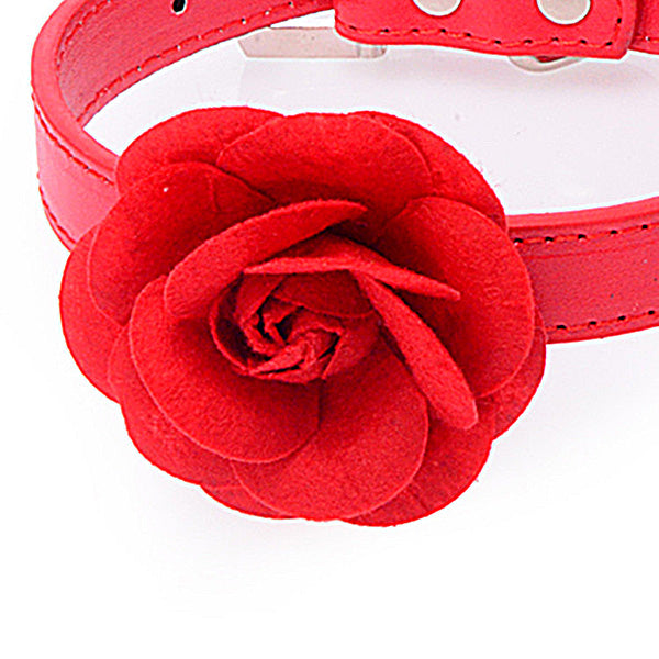 Buckle Pet Dog Doggy Big Flower Cat Collar Cute Adjustable Choker Adorable Tie Rose Dog Collar