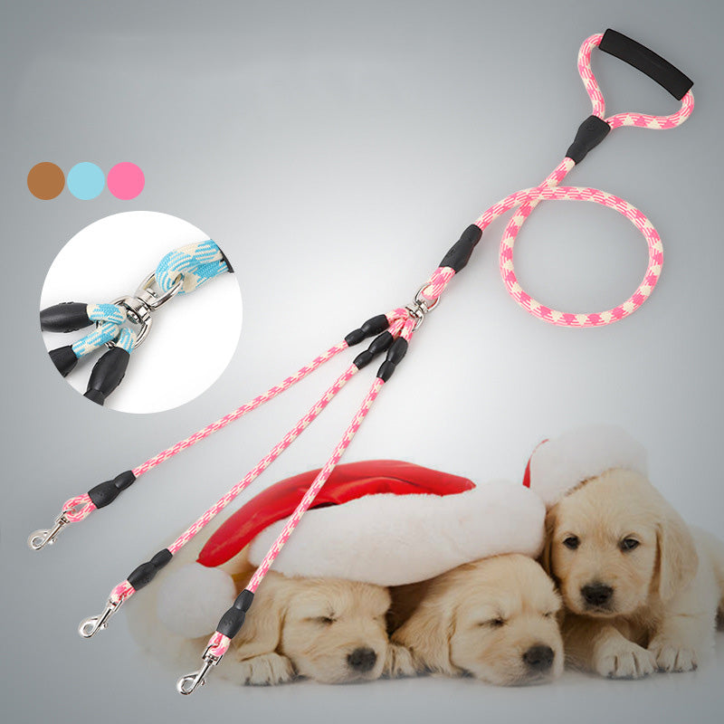 Nylon Three dogs Leash Detachable Pet Lead Climbing foam handle 1 leash for 3 Dogs Small Dog Traction Rope