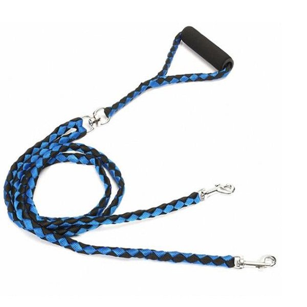 Double Dog Leash Braided Tangle Dual Leash Coupler For Walking Training Two Dogs