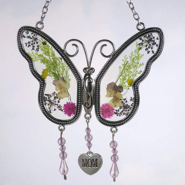 Butterfly Suncatcher with Pressed Flower Wings Embedded in Glass with Metal Trim Gifts for Mom
