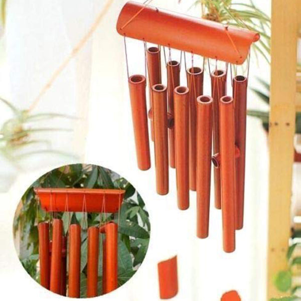 "24"" Lucky 10 Tube Rectangular Wind Chime Bamboo Red Wood Garden Ornament"