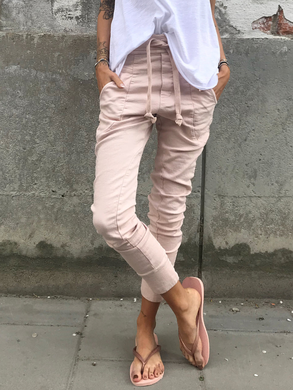 Pink Solid Holiday Pockets Cotton Pants