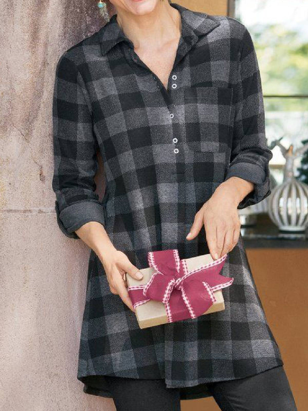 Checkered/plaid Cotton-Blend Casual Shirts & Tops
