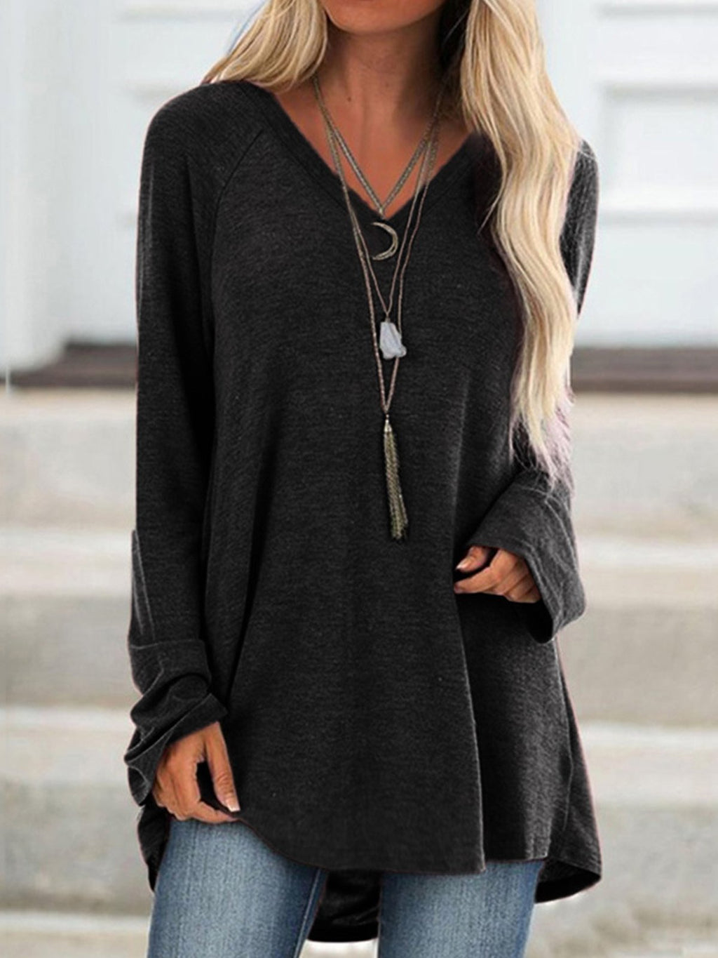Long Sleeve V Neck Plain T-Shirts