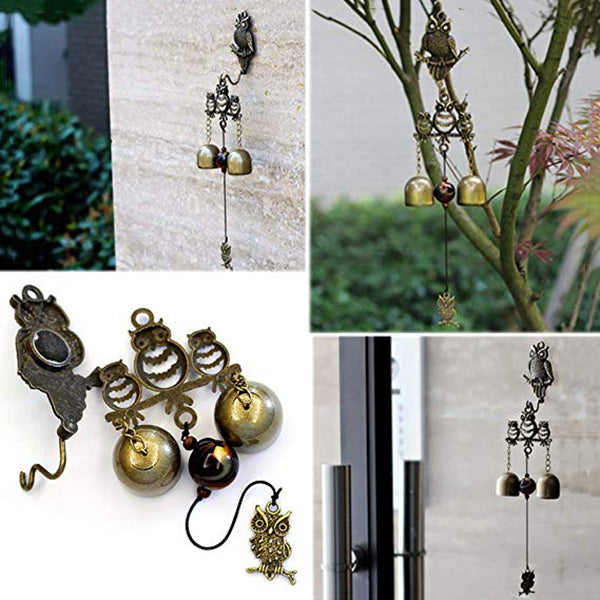 Owl Wind Chimes, Retro Copper Chinese Bell, Home Garden Decorative Ornaments