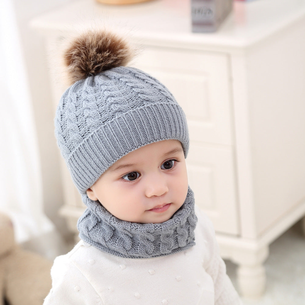 2 Pieces/Set Fashion Winter Hat&Scarf Set For Boys Girls Warm Knitted Caps And Scarf