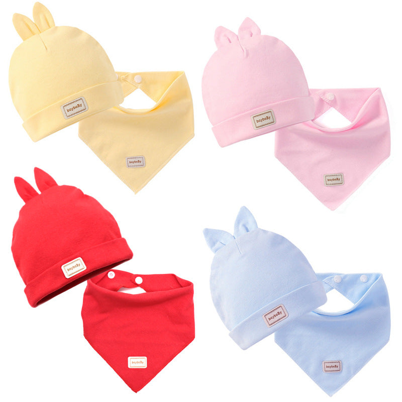 Mommy and Newborn Baby Winter Warm Cotton Fetal Hat+ Triangle Towel