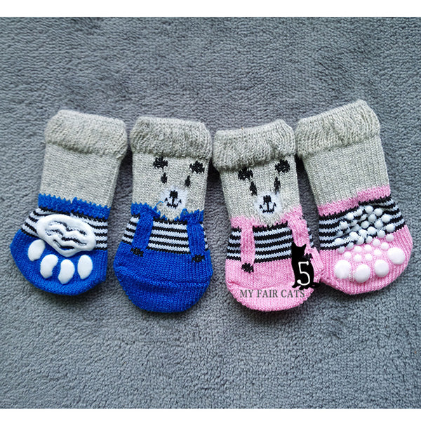 4 Pcs/ Set Dog Cat Sock Cute Puppy Dogs Anti Slip Skid Bottom Socks
