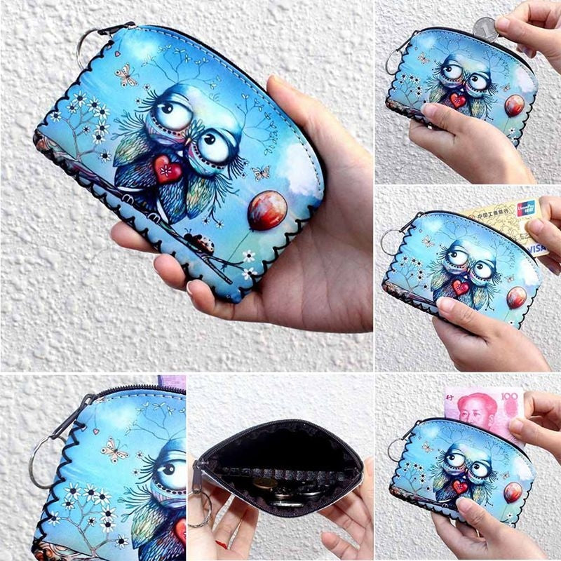 New Graffiti Cat Elephant Owl Coin Purse Card Holder Handmade Hem Wallets Women Clutch Zipper Coins Bag Pouch