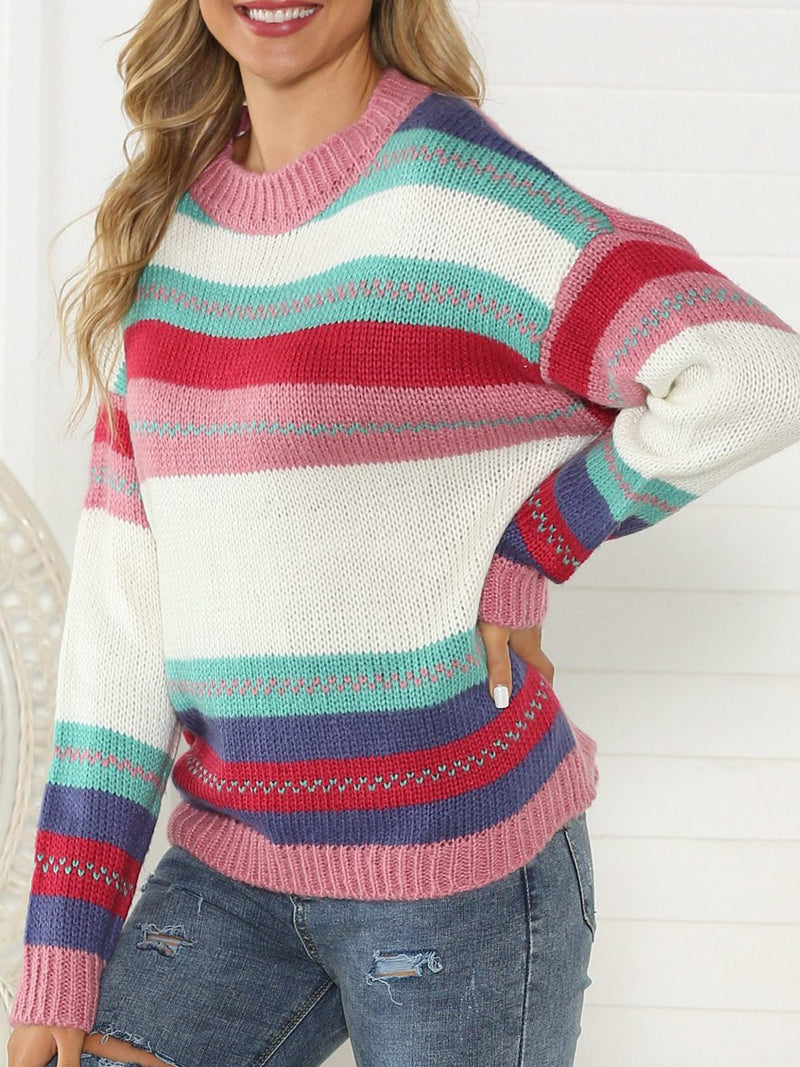 Multicolors Long Sleeve Crew Neck Knitted Striped Sweater
