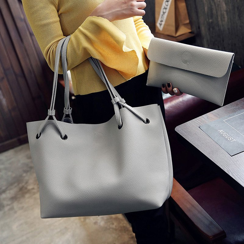 2PCS Women High Capacity  PU Shoulder Bag with Mini Clutch Purse
