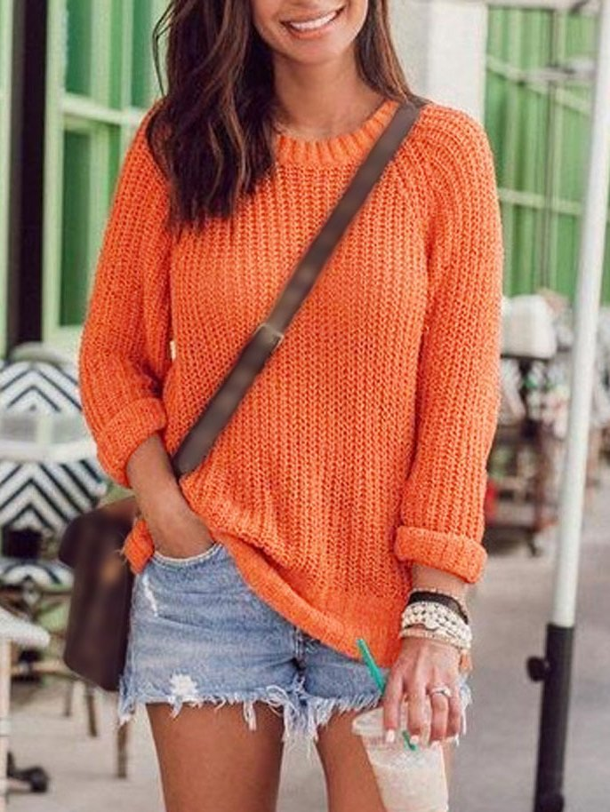 Orange Knitted Holiday Sweater