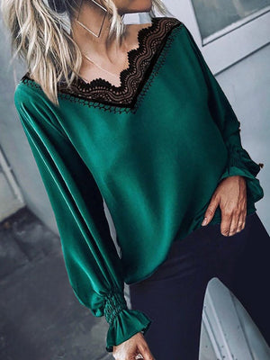 V Neck Solid Long Sleeve Blouse