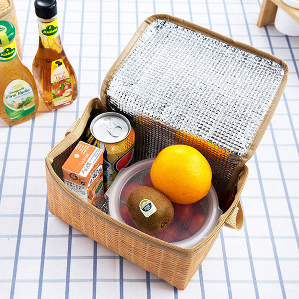 Imitation Rattan Brazier  Lunch Tote Bag Cooler Insulated Picnic Bag