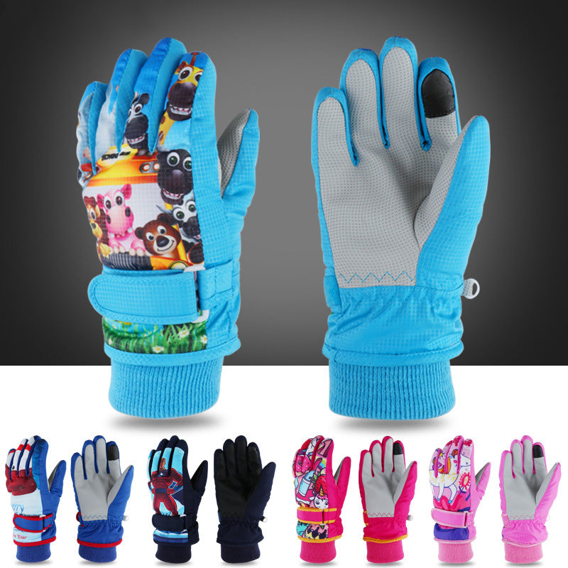 1 Pair Baby Boys Girls Winter Ski Gloves Cold Windproof Waterproof Warm Outdoor Sports
