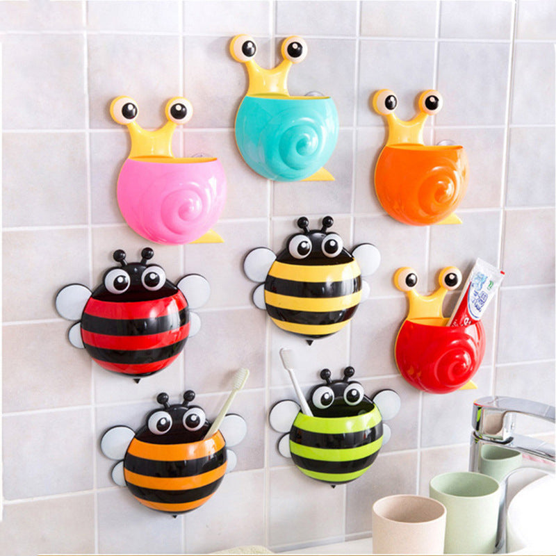 Cute Cartoon Bee Snails Design Toothbrush Suction Wall Holder Bathroom Home Decor