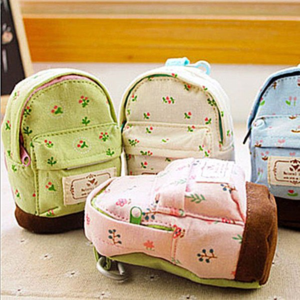 Cute Case Coin Card Backpack Purse Zipper Bag Pouch Flower Canvas New