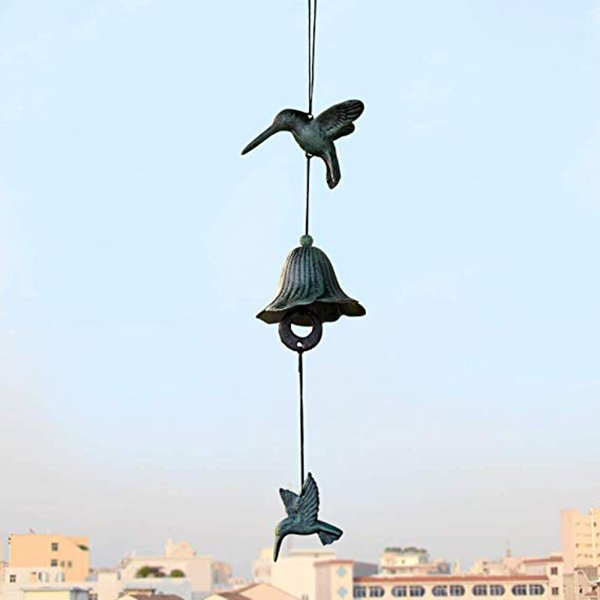 Arts Cast Iron Hummingbird Windbell Wind Chimes Outdoor and Home Decoration