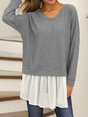 Long Sleeve V Neck Paneled T-Shirts