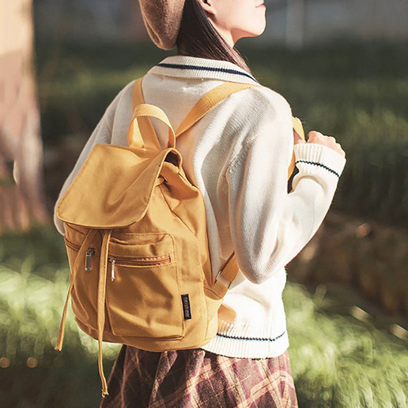 Women Casual Drawstring Canvas Backpacks For Teenager