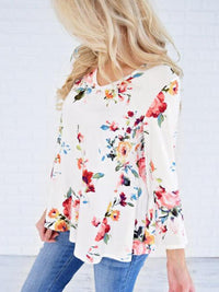 Plus Size Vintage Floral Printed Long Sleeve Casual Tops