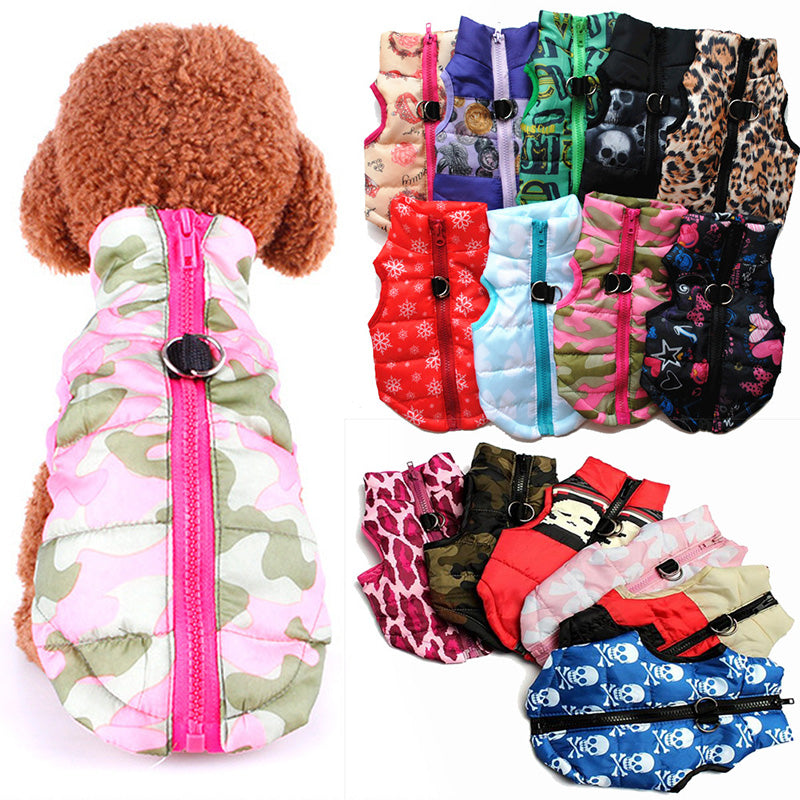 Colorful Pet Winter Warm Coat Puppy Padded Vest Jacket Costumes Dog Clothes