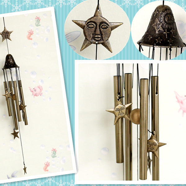Dolphins/Moon/Stars Wind Chimes, Home Garden Decoration Musical Copper Wind Chime Ornaments