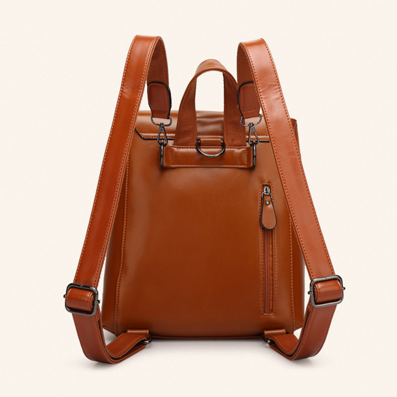 Multi-slots Cowhide Leather Backpack School Bag For Women Men Unisex