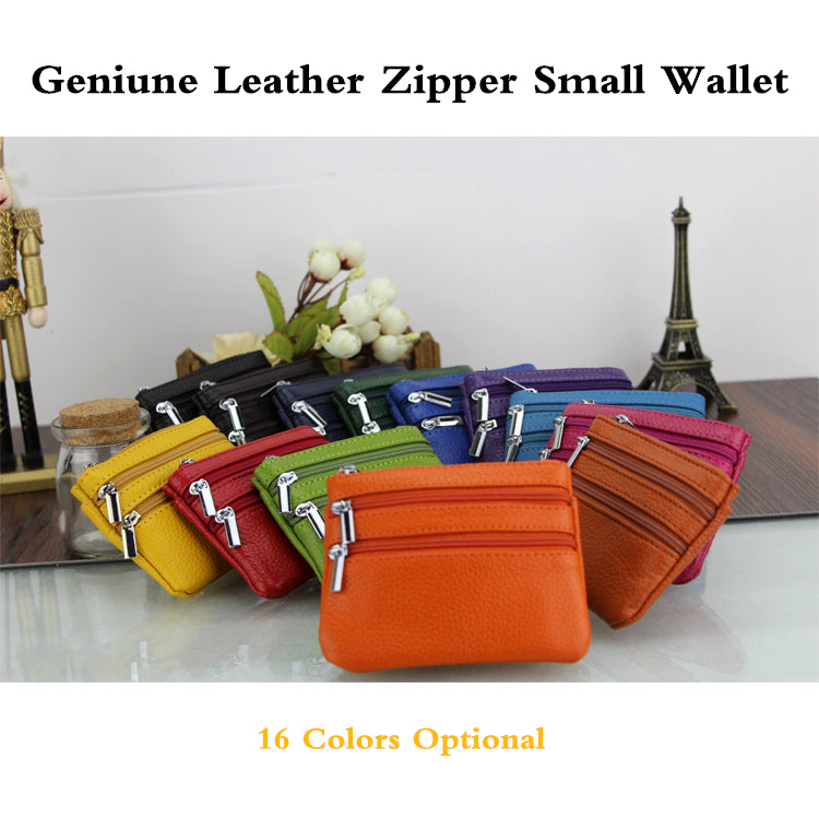 Women Genuine Leather Zipper Purse Phone Bag Card Holder Wallet
