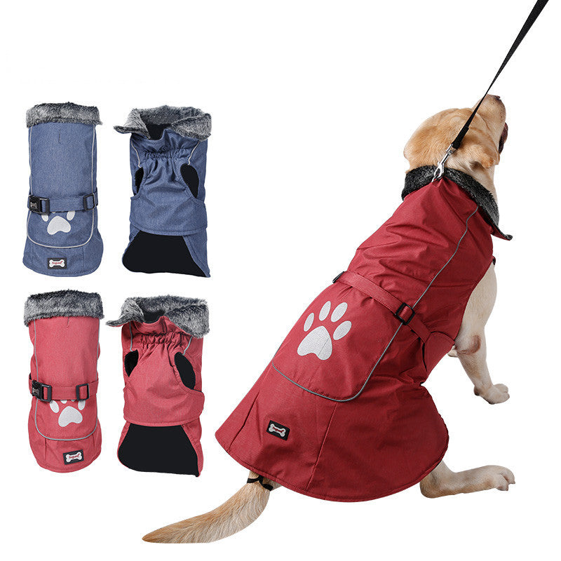 Thickened Buckle Dog Clothes Big Dog Waterproof Outdoor Thick Jackets Pet Clothes Winter Warm Dog Footprints Vest