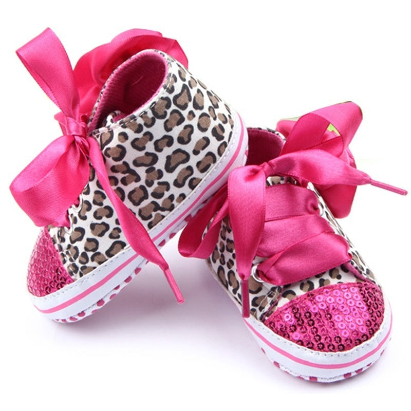 0-12M Newborn Girl Leopard Sequin Sneaker Kid Non-Slip Lace Up Walking Shoes