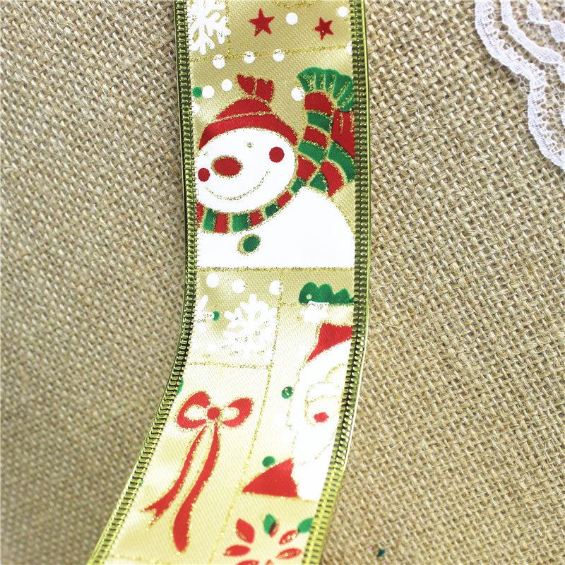 2M/90M Santa Claus Snowman Christmas Ribbon Christmas Tree Wreath Decoration Christmas Items
