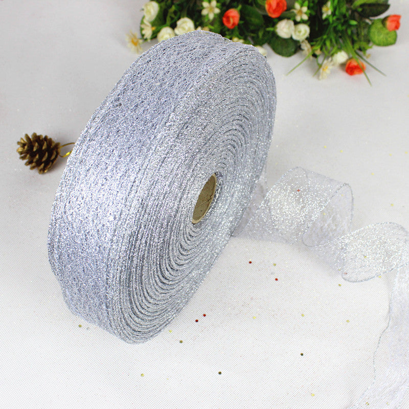 5CM 2.18/100Yards Openwork Glitter Powder Christmas Ribbon Christmas Tree Decoration Ribbon Christmas Decorations