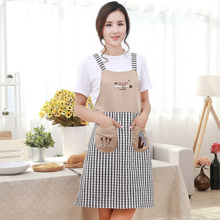 Embroidered Shoulder Strap Type Happiness Tree Lady Apron Kitchen Oil Stain Cotton Linen Apron