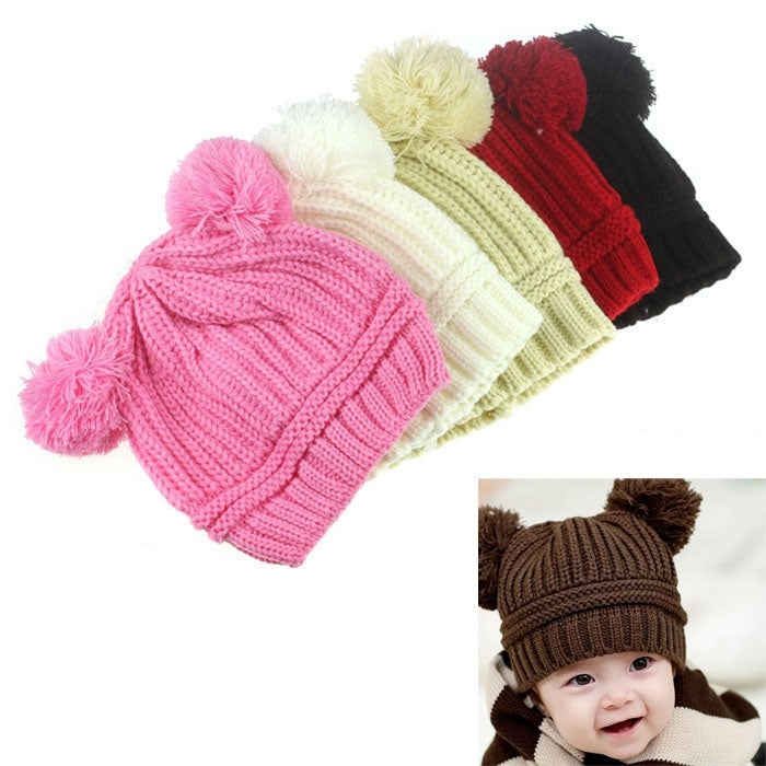 Cute Baby Kids Girl Boy Dual Balls Warm Winter Knitted Cap Hat Beanie Bonnet