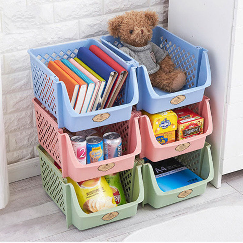 Plastic Storage Basket Stackable Vegetables Fruit Kitchen Organizer