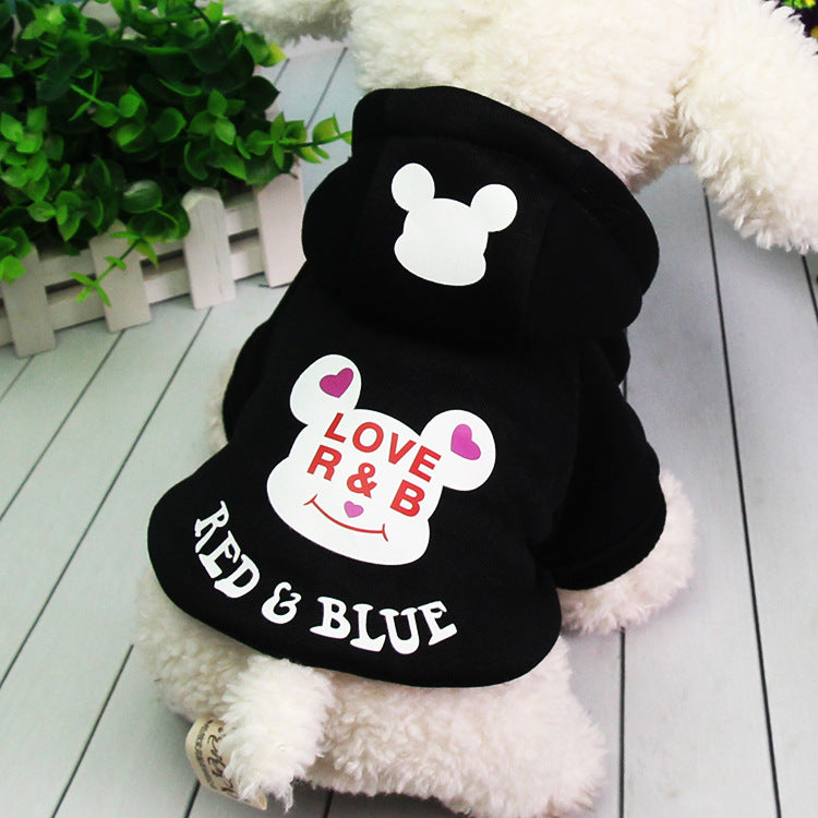 Cute Pet Dog Cartoon Bear Pattern Warm Hooded Coat