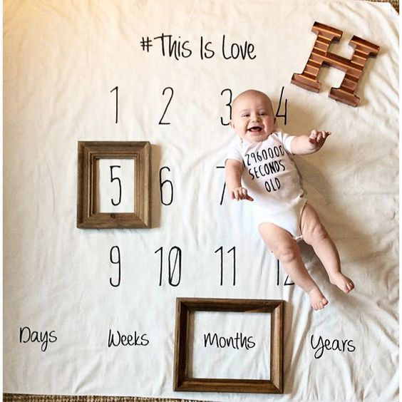 Fashion Number Letter Pattern Baby Blanket for Photo Shoot 100cm x 100cm