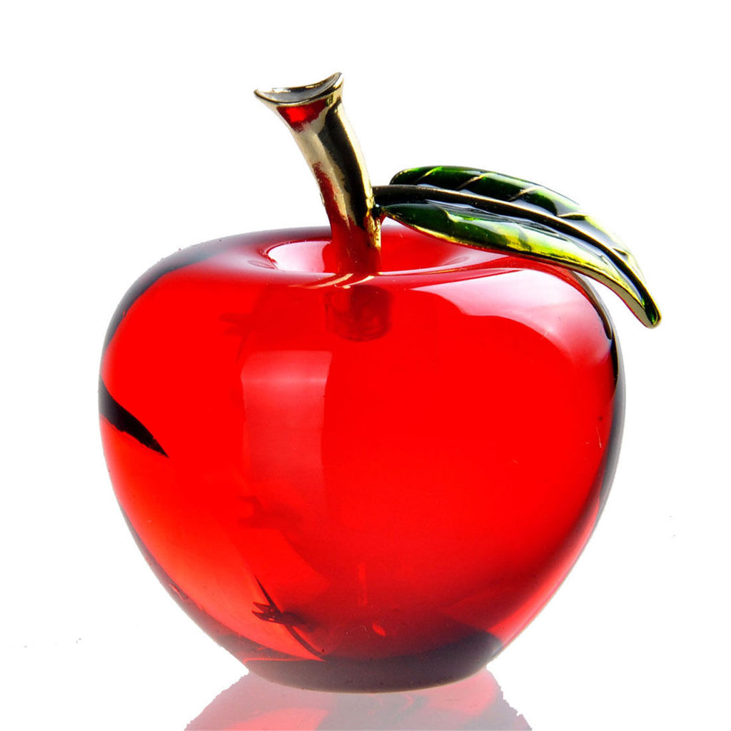Hot-sale Crystal Glass Apple Paperweight Unique Home Decorations Christmas Gift