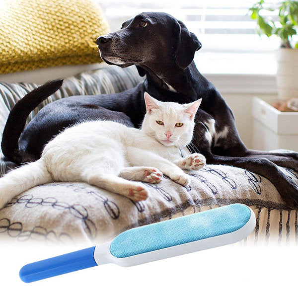 Pet Fur Hair Remover with Self-Cleaning Base Reusable Cleaner Double-Sided Brush for Clothing & Furniture